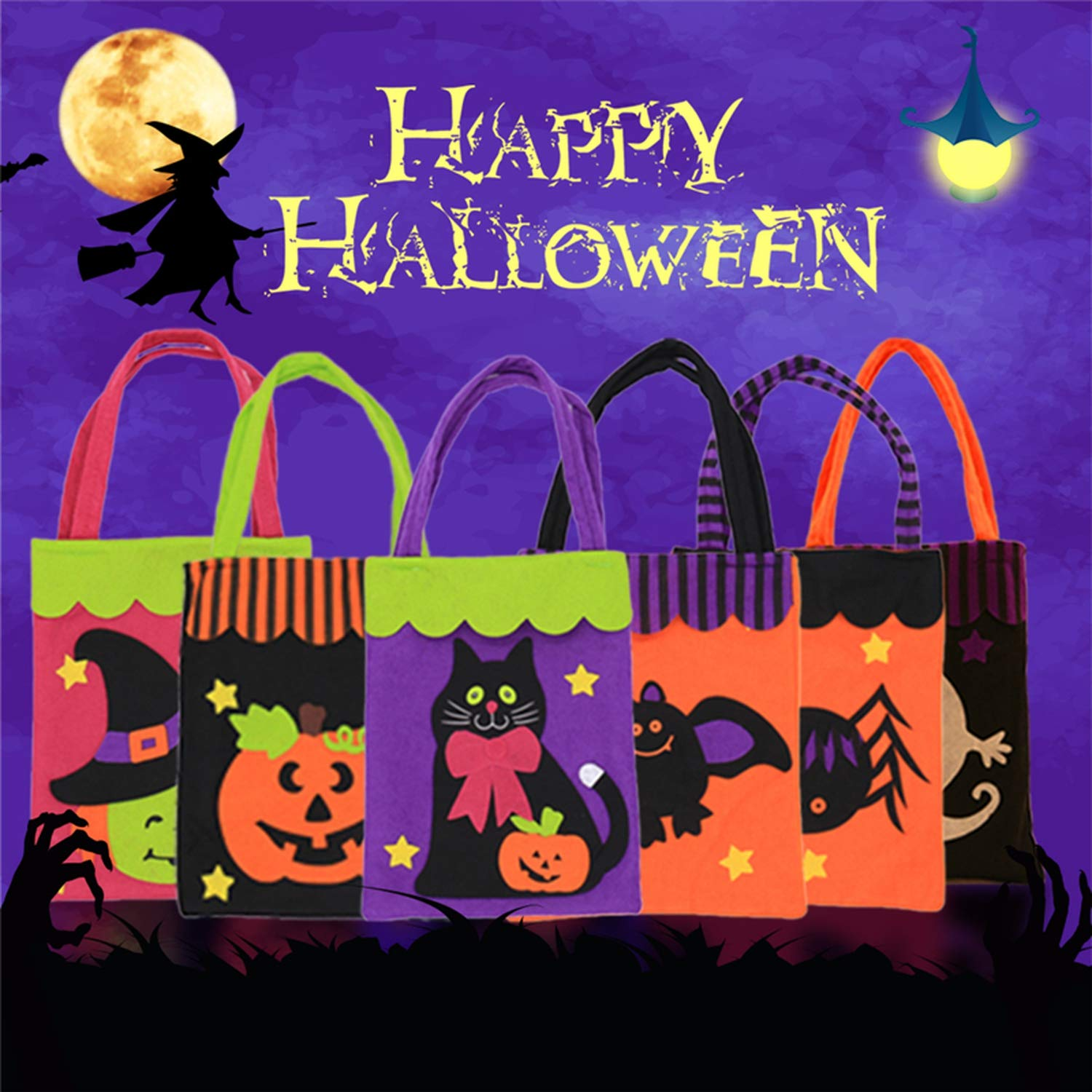 Halloween Candy Bag Gift Bags Pumpkin Trick Or Treat Bags Sacks Gift for Kids Event Party,D by Acereima (Image #2)