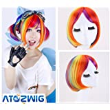 Anime Straight Rainbow BOB Cosplay Short Rock Star Wig for Synthetic Halloween Multicolor Costume
