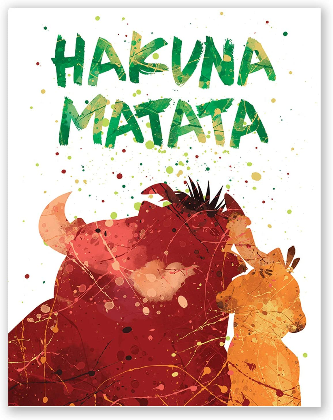 PGbureau Hakuna Matata Nursery Poster – Inspirational Quote Print – Colorful Summer Hawaii Home Wall Decor – Lion King Cartoon – Kids Room Bedroom Party Decoration (8x10)