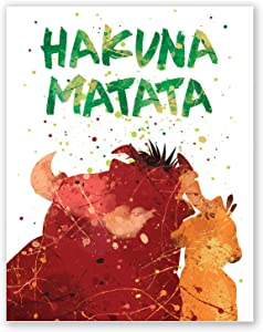 PGbureau Hakuna Matata Nursery Poster – Inspirational Quote Print – Colorful Summer Hawaii Home Wall Decor – Lion King Cartoon – Kids Room Bedroom Party Decoration (8x10)