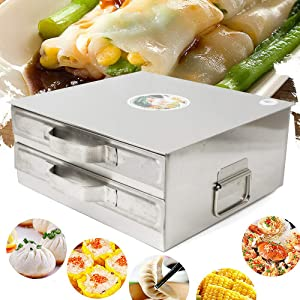TFCFL 2 Layer Stainless Steel Steamer cooker Rice Noodle Roll maker Steaming machine 31 34 14cm/12.20''X13.38''X5.51''