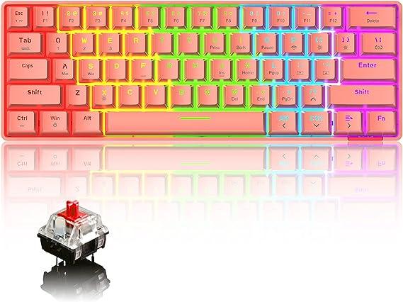 60% Teclado mecánico Cableado/Inalámbrico Teclado Bluetooth 5.0 61 teclas RGB Rainbow LED Retroiluminado USB Tipo-C Teclado para juegos a prueba de ...