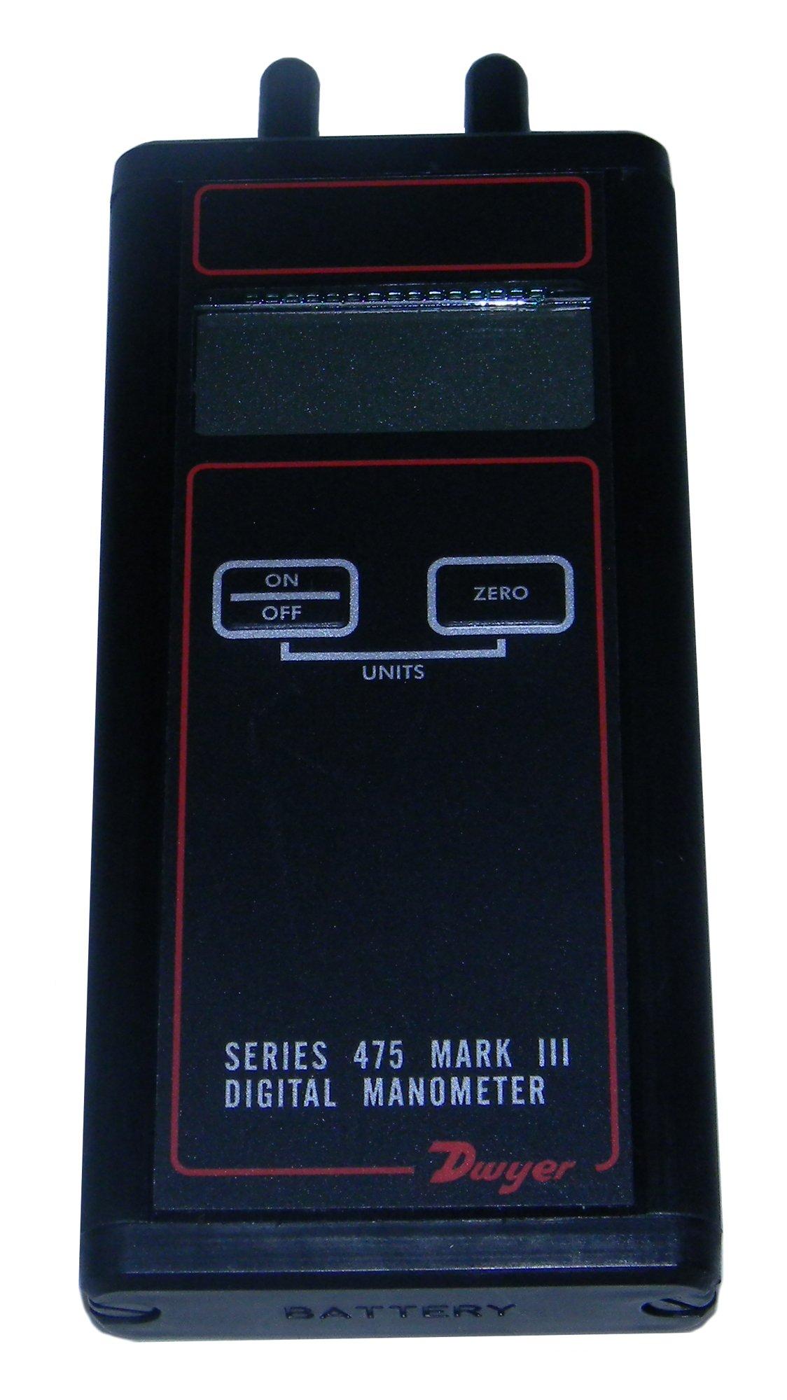 Dwyer Series 475 Mark III Handheld Digital Manometer, 0-40.00''WC Range, 10 psig Maximum Pressure