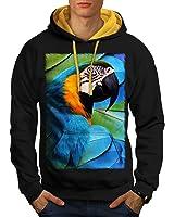 Wellcoda Parrot Bird Cute Animal Men S-2XL Contrast Hoodie
