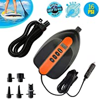 Tuomico 16PSI Max SUP Air Pump Electric - 12V DC Car Connector, Smart Dual Stage Inflation & Auto-Off, Digital Adjustable LCD Function, SUP Pump for Inflatable Stand Up Paddle Boards, Boats, Kayak
