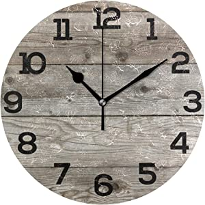 """Wall Clock Old Barn Wood Rustic Round Acrylic Clock Black Large Numbers Silent Non-Ticking 9.45"""" Clock Decorative Painting Battery Operated Clock for Home School Hotel Library"""