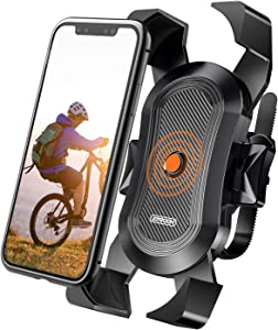 Bike Phone Mount, Secure Lock & Bicycle Cell Phone Holder for Mountain Bike Handlebar, Compatible with Most 4-6.8 inch Smartphone