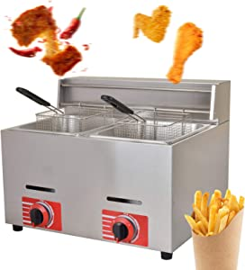 20 Liter Dual Tanks Commercial Stainless Steel Deep Fryer High Capacity Professional Gas Countertop Kitchen Frying Machine With 2 Basket for French Fry Restaurants Supermarkets Fast Food Stands
