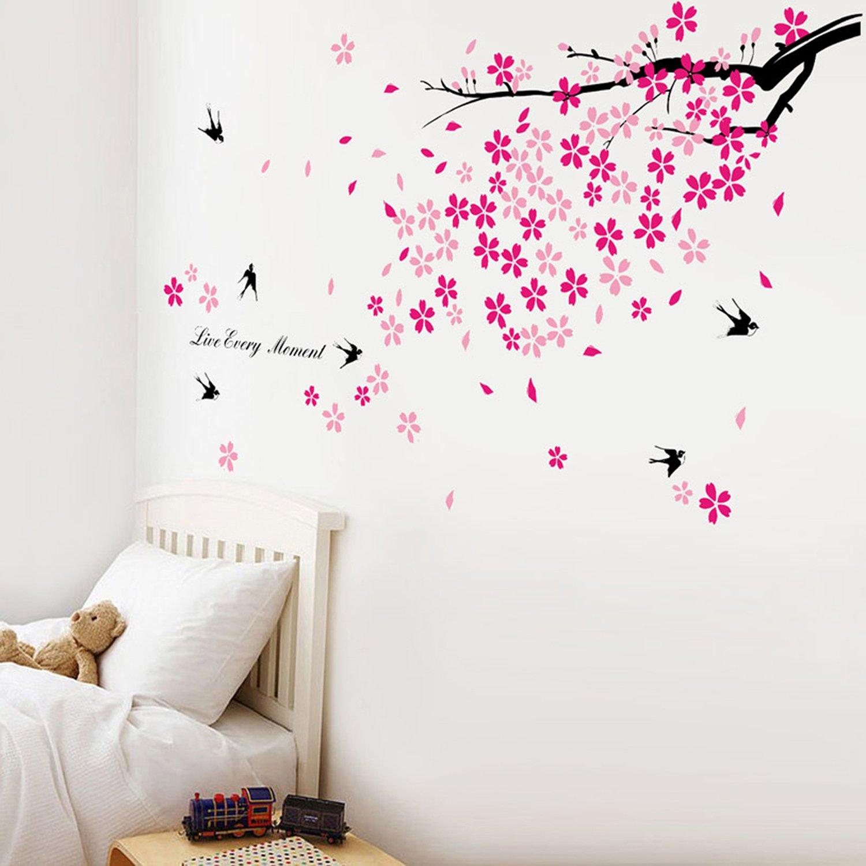 Walplus - Adesivi decorativi da parete per bambini, con motivo a rondini e fiori rosa 7S-J15X-IEB2