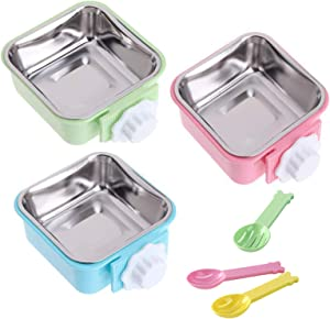 Crate Dog Bowl, Stainless Steel Removable Hanging Cage Food Bowl Pet Food Spoon Water Feeder Bowls Coop Cupfor Puppy Cat Bird Rabbit Guinea Pigs(3 PCS)