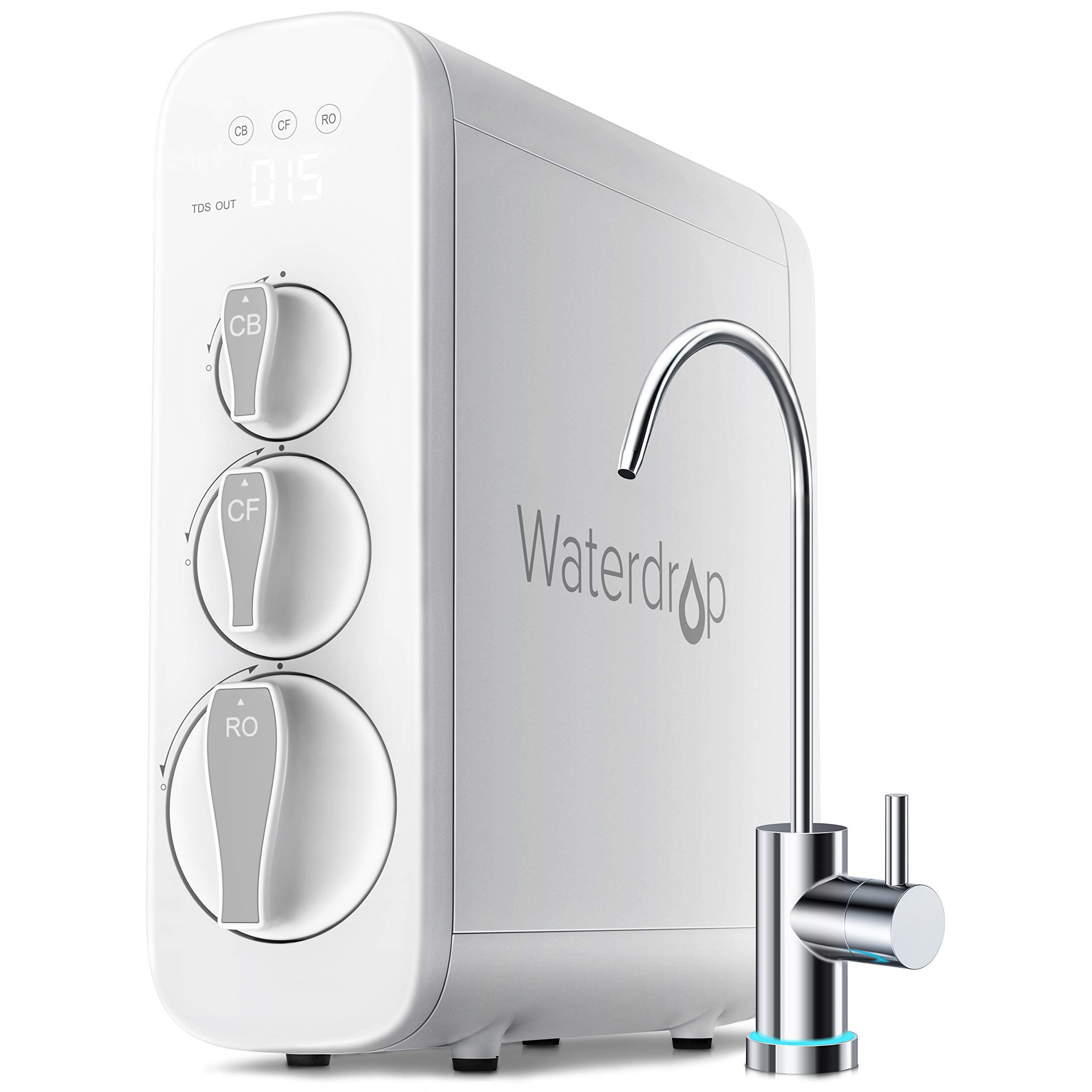 Waterdrop RO Reverse Osmosis Water Filtration System, TDS Reduction, 400 GPD Fast Flow, Tankless, Smart Faucet, UL Listed Power Cord, 1: 1 Drain Ratio, USA Tech Support by Waterdrop