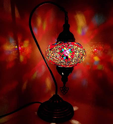 Handmade Turkish/Moroccan/Tiffany/Bohemian Style Large Glass Mosaic Desk Table Lamp Light 43 Centimetre Tall OR1
