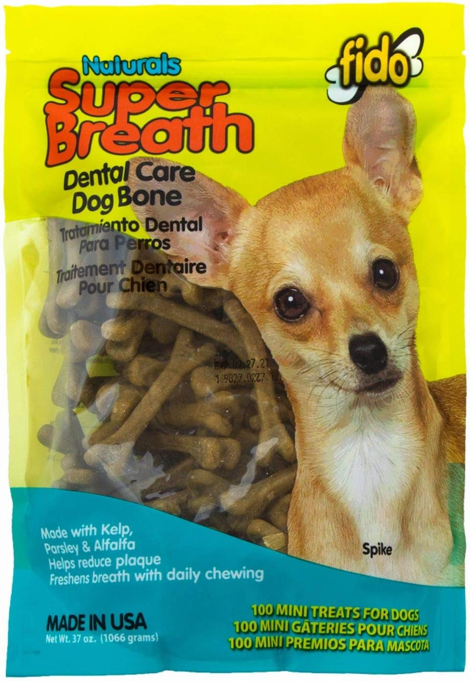 Fido Super Breath Dental Care Bones for Dogs, Made with Kelp, Parsley and Chlorophyll – Naturally Freshens Breath, Reduces Plaque and Whitens Teeth