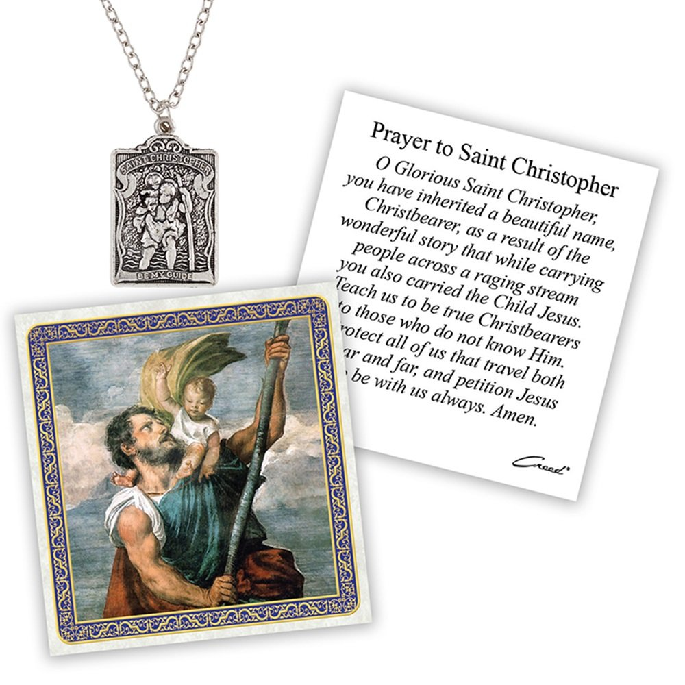 Silver Toned St. Christopher Patron Saint of Travelers Devotional Pendant with Prayer Card, 2 Inch by Christian Devotional Gifts