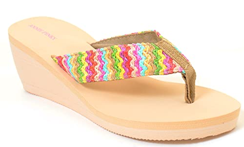 9f40f2152 Fourever Funky Colorful Boho Woven Flip Flop Thong Beach Sandals Women s  Vegan