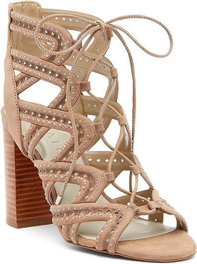 Lace Up Block Heel Open Toe Sandal