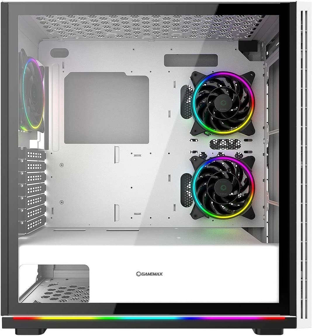 6 Fan Support ARGB Hub 2 x ARGB LED Strips Included 3 x 120mm Razor Fans Included Water-Cooling Ready GameMax Ice ARGB PC Gaming Case ATX White//Black