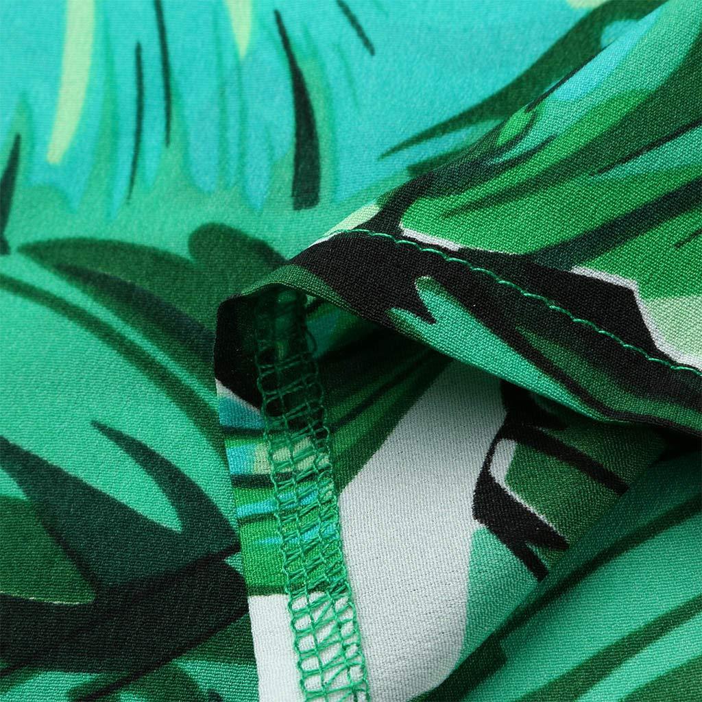 YFancy Plus Size Dresses Womens Dress Casual Beach High Waist Short Sleeve Bohemian Belt Summer V-Neck Long Split Dress