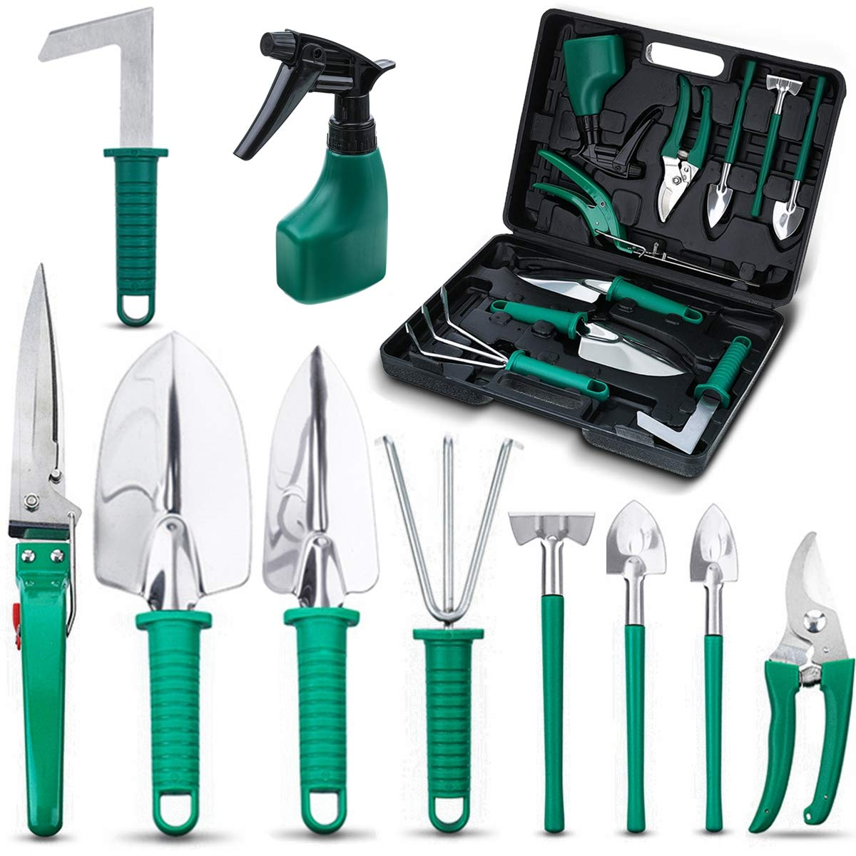 NASUM 10 Pieces Garden Tools Set – Stainless Steel Gardening Tool Case with Trowel Pruner,Rakes, Shovels,Secateurs,Weeding Knife and more,Vegetable Herb Garden Hand Tools,Gifts for Women Man
