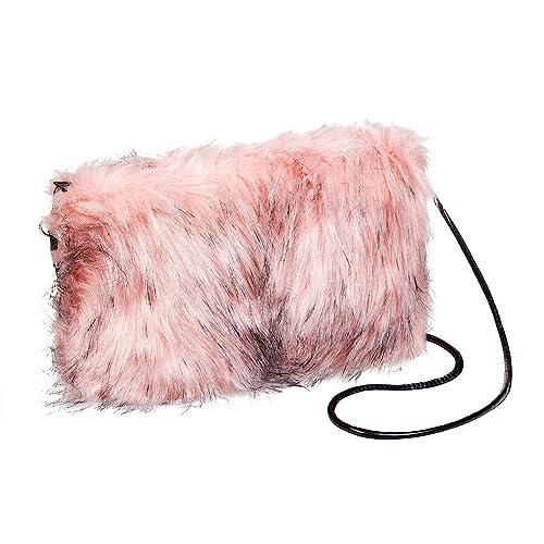 dc777e5375eb Blue Banana Faux Fur Clutch Bag (Baby Pink Black)  Handbags  Amazon.com