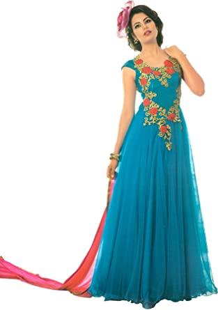 Exotic India Cyan Blue And Pink Wedding Gown With Embro Size X Small