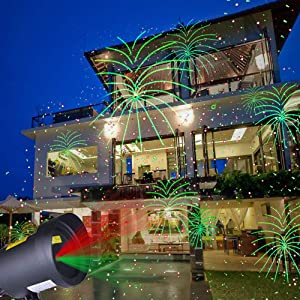 Saint- Valentine Projector Motion Light Moving Patterns with Fireworks Landscape Lights Outdoor Indoor Xmas Laser Lights for Party/Yard/Garden/Saint- Valentine/Birthday/Disco/Festival Decorations