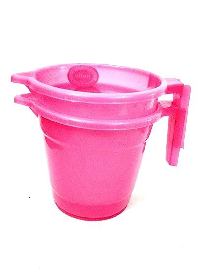 Buy Feel alive Bathroom Plastic Mug Set of 2, 1 L - Pink