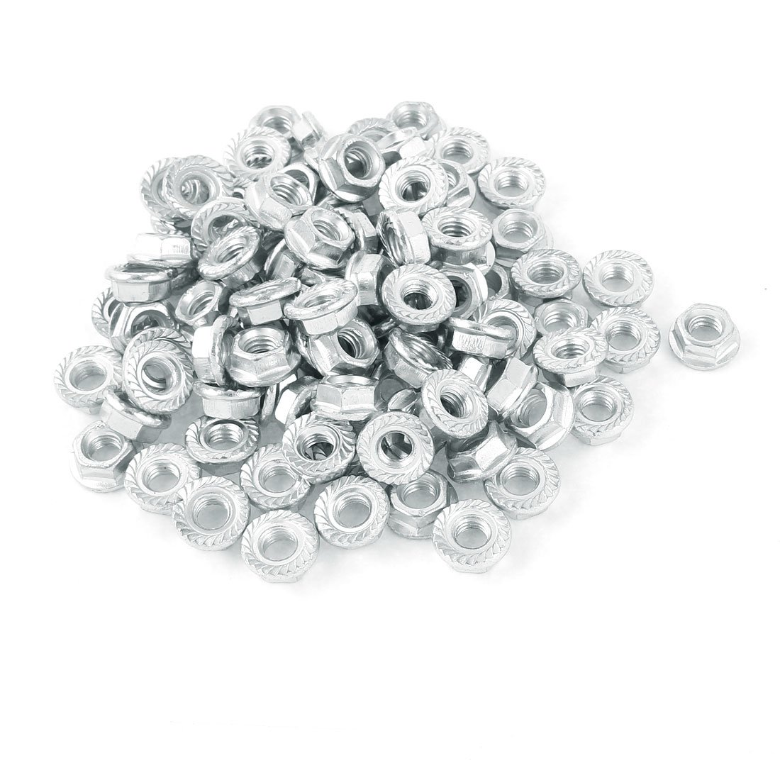 uxcell M6 Carbon Steel Zinc Plated Serrated Flange Hex Machine Screw Lock Nuts 100pcs