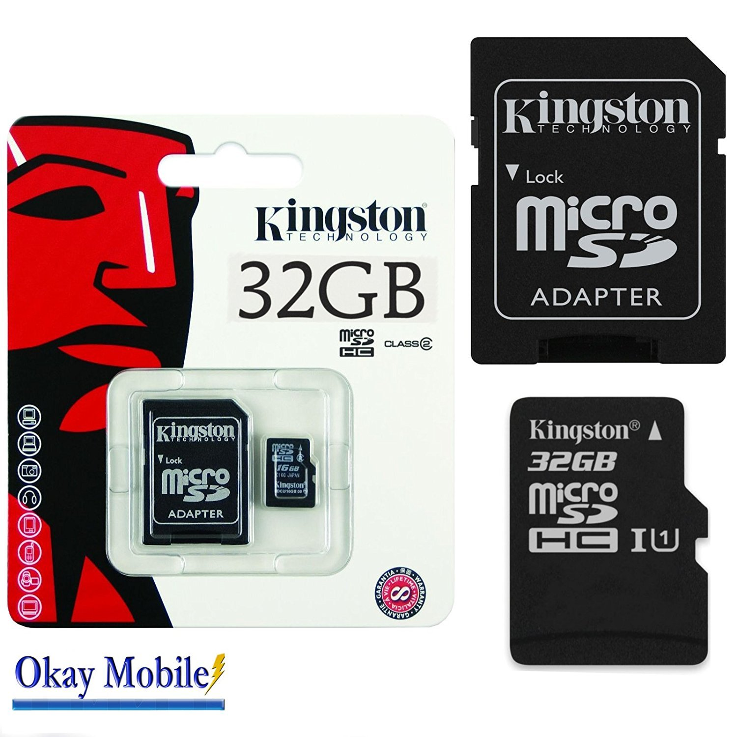 Okay Mobile Original Kingston MicroSD Tarjeta De Memoria SDHC 32 GB para Samsung Galaxy A3 (7) (2017) 32 GB