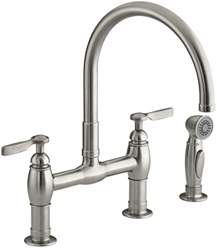 KOHLER K 6131 4 VS Parq Deck Mount Kitchen Faucet With Spray