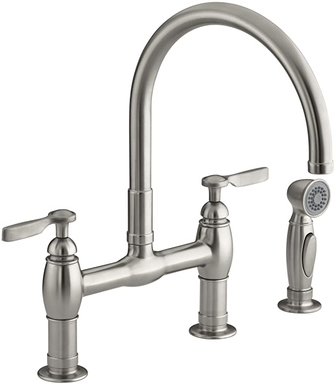 KOHLER K-6131-4-VS Parq Deck-Mount Kitchen Faucet with Spray, Vibrant Stainless