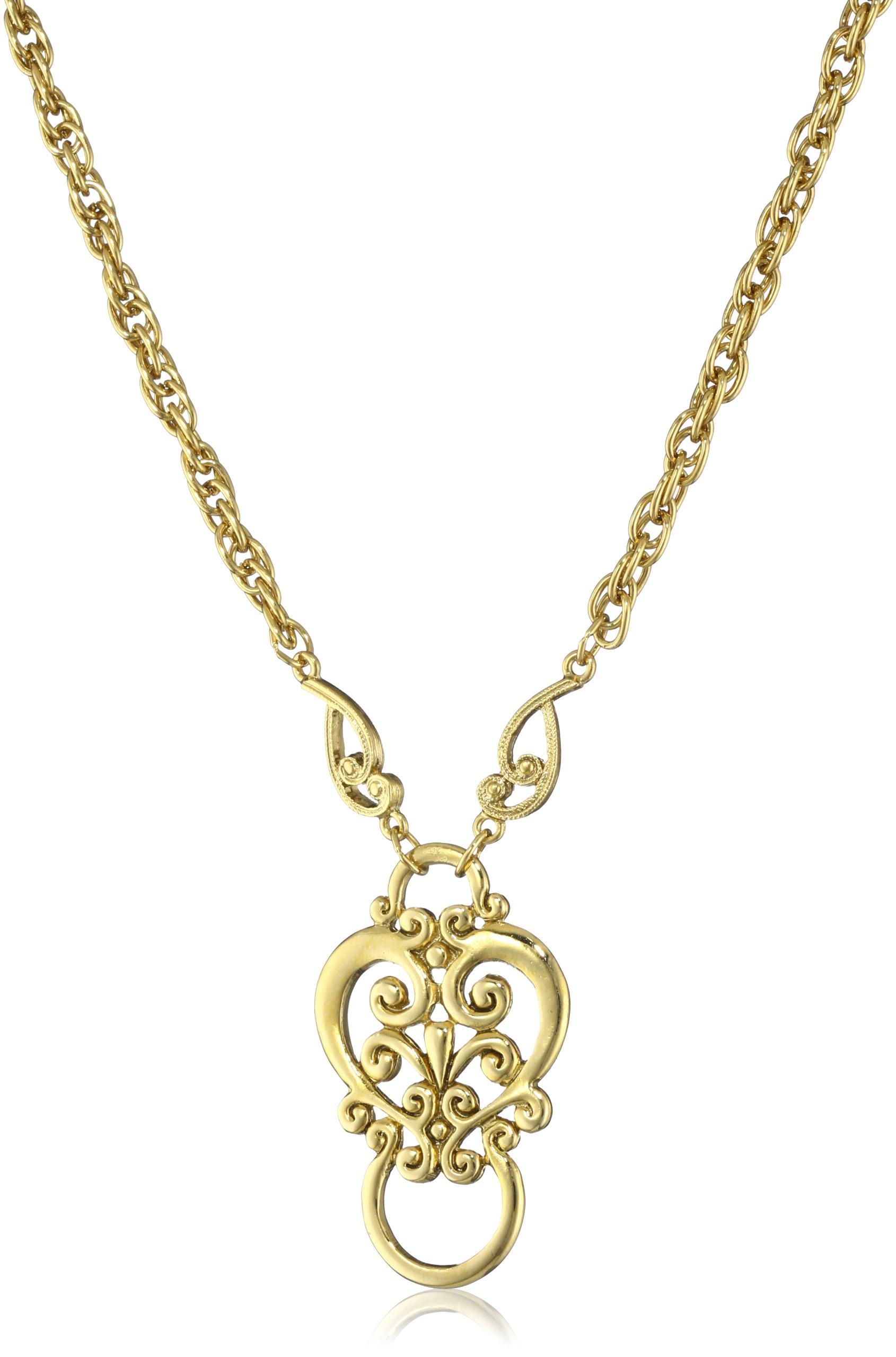 "1928 Jewelry Heart Eyeglass Holder Pendant Necklace, 28"""