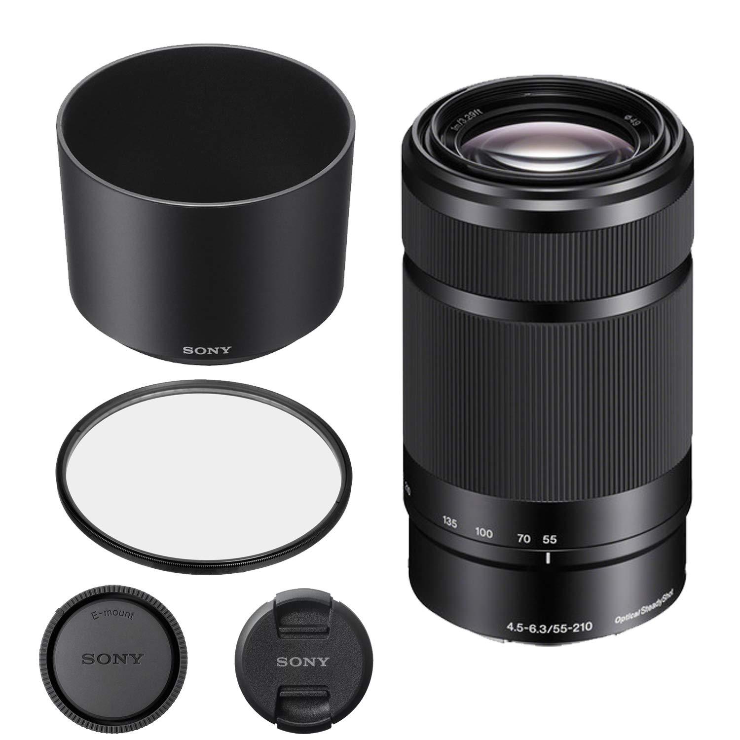 ソニー E 55-210mm f/4.5-6.3 OSSレンズ(ブラック)キット ソニーレンズフード、レンズキャップ、UVフィルター付き(小売ボックス)   B07KZ2FFT7