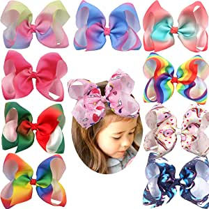 10Pcs Rainbow Hair Bows for Girls 6'' Large Big Grosgrain Ribbon Bows Alligator Hair Clips Unicorn Bows For Toddlers Baby Girls
