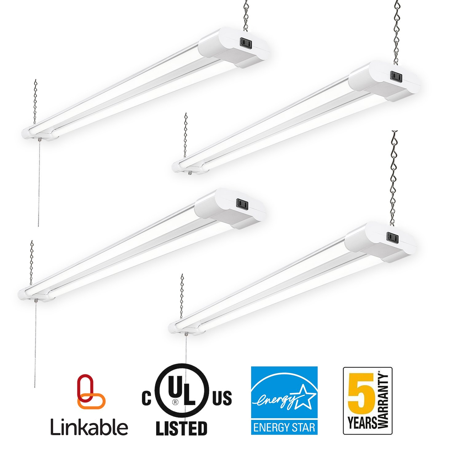 Amico LED Utility Shop Light,4FT Integrated Linkable Double-Fixture,40W(100W Eq)4000 Lumens 5000K Daylight,with Pull Chain Switch for Workshop Garage Basement (4 pack)