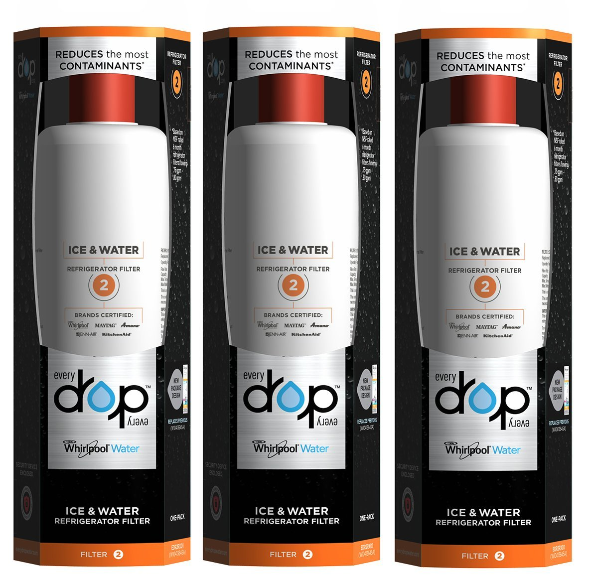 EveryDrop by Whirlpool Refrigerator Water Filter 2 (Pack of 3)
