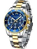 MEGALITH Relojes Hombre Reloj Cronografo Elegante Oro Acero Inoxidable Luminosos Impermeable de Diseño Relojes Grandes…