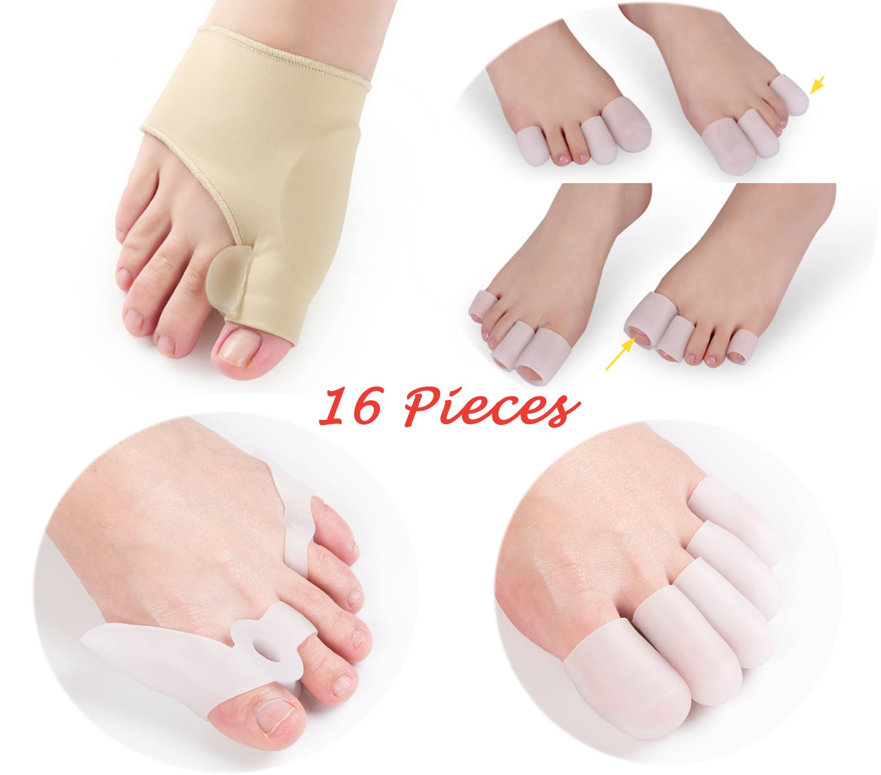 Bunion Splint Gel Toe Separator, Gel Pad Bunion Splints with Spacer, Bunions Relief Toe Protectors Silicone Toe Corrector Straightener Kit 16 Pieces, Big and Small Toe Protector for Foot Corn/Blister/