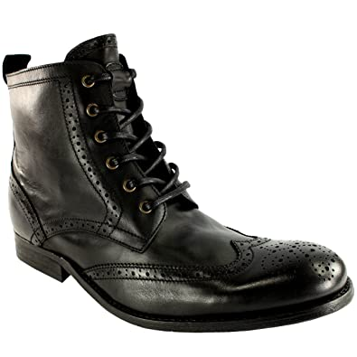 29573d704779 Hudson Mens H Angus Brogue Leather Lace Up Smart Ankle Boots - Black - 13