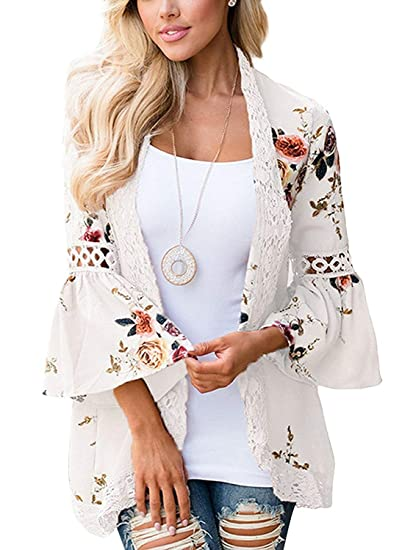 90f2766d99a JunJunBag Womens Floral Cardigan Casual Kimono Cover Up Blouse Top Size 2XL  White
