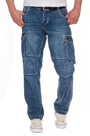 erstklassiger Profi sehr bekannt neue Version UNCS Herren Cargo Jeans Denim Pants Seitentaschen Bikerjeans Workerjeans