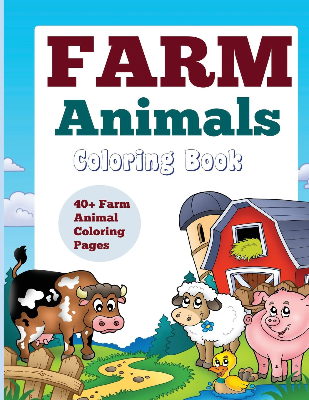 Farm Animals Coloring Book 40 Farm Animal Coloring Pages Kids