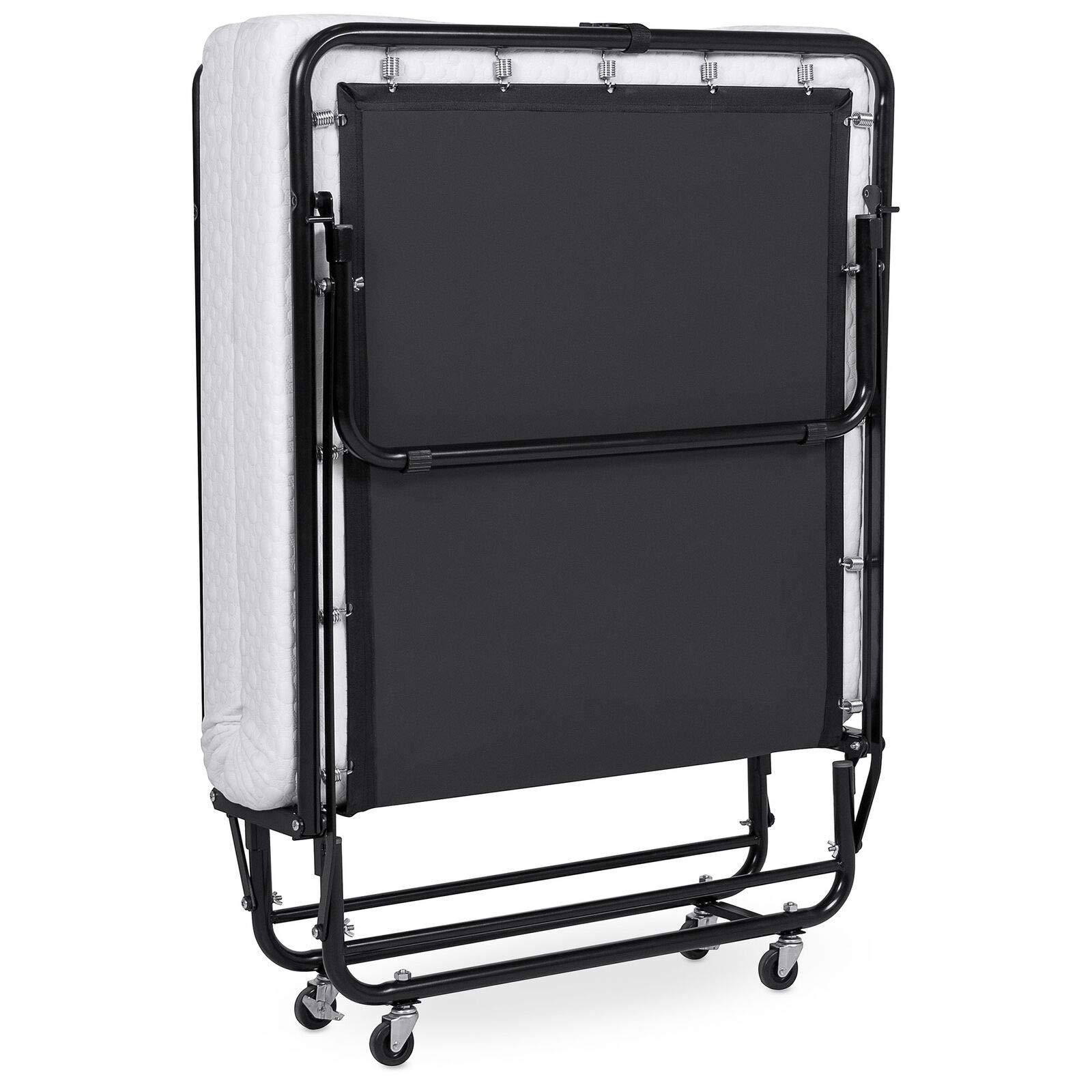 Folding Extra Bed Twin Size Rollaway Metal Bed Memory Foam Mattress Foldaway for Guest
