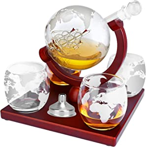 TeqHome Whiskey Decanter Set, Globe Wine Decanter with 4 Etched Glasses, Decanter Sets with Stainless Steel Funnel, for Liquor, Scotch, Bourbon, 1000ml