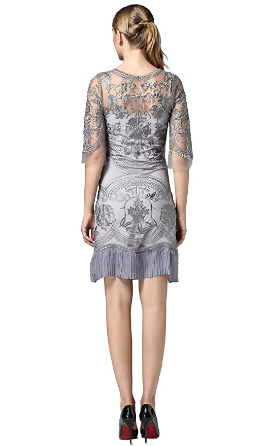 Amazon.com: Tuliplazza Womens Floral Embroidery Tulle Lace Cocktail Prom Party Dress: Clothing
