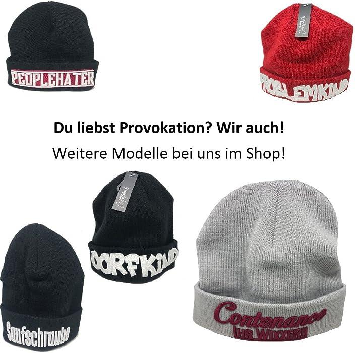 M/ütze mit 3D-Stick P/üppi in schwarz Provokation, Junggesselenabschied, Statement, Geburtstag Outfitfabrik /&hearts hearts; Warme Strick-Beanie