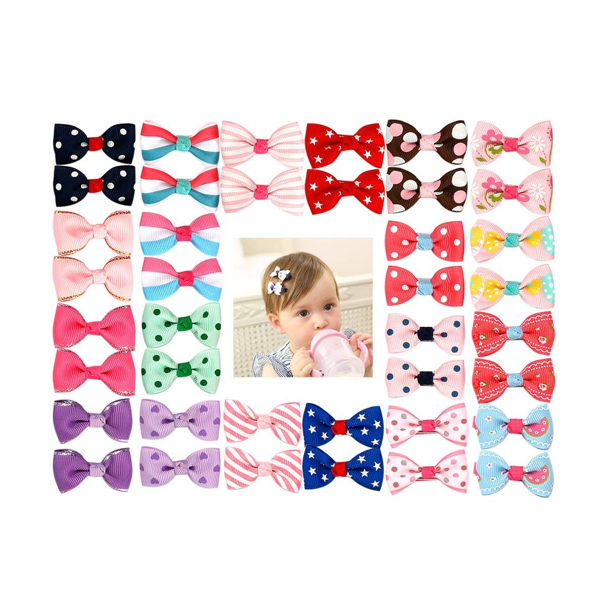 Munax 40 pcs 1.8'' Baby Girls Ribbon Hair Bow Clips Printed Pattern Barrettes for Girl Teens Kids Babies Toddlers(20 Pairs)