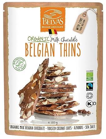695edbf5647c Belvas Belgian Thins Organic Milk Chocolate Coco Almond 120g (Pack of 6)