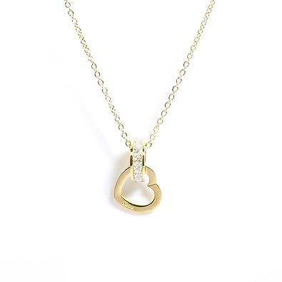 Goldkette Damen mit Herz von BRANDLINGER Damen Schmuck. Hochwertige Damen  Kette mit 18 Karat Goldplattierung. Kettenlänge 40+5cm (extra). 575b9e75f7