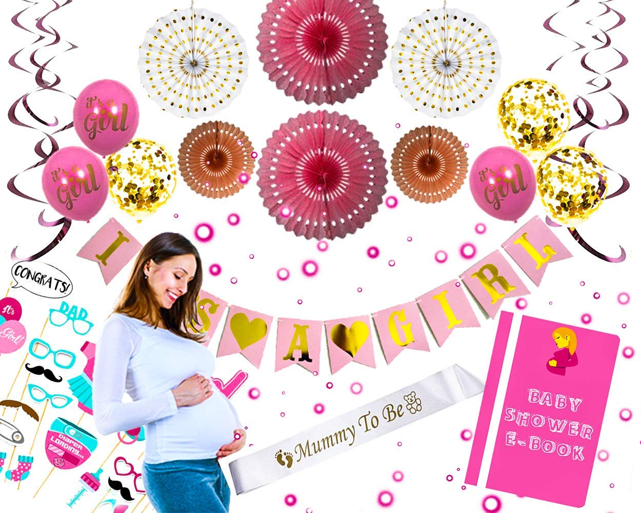 Baby Shower Decorations for GIRL/BOY (46 Pink Premium Piece Set) | EASY To Assemble | Photo Props | Stunning Pink, Gold & White Pom Poms | Swirls | Mommy To Be Sash | High Quality | Bonus E-Book